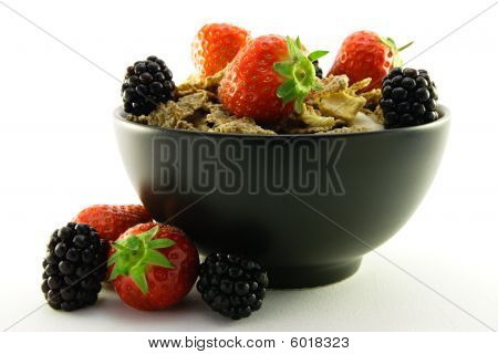 Bran Flakes In A Black Bowl