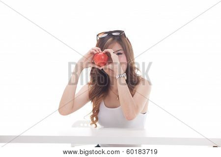 Healthy Asian Woman With Fruits