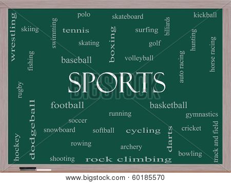 Sports Word Cloud Concept On A Blackboard
