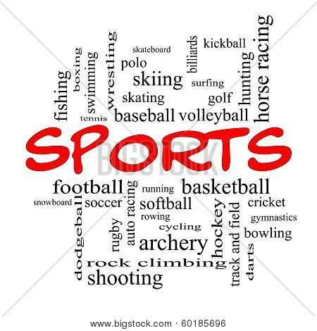 Sports Word Cloud Concept In Red Caps