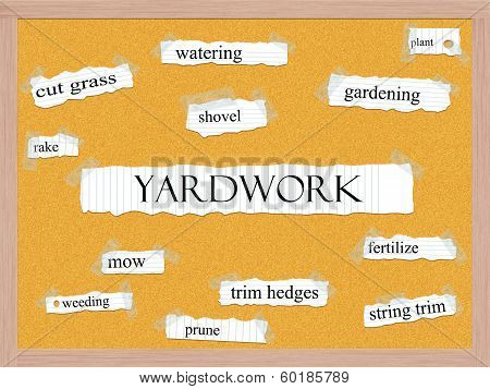Yardwork Corkboard Word Concept