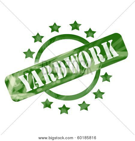Green Weathered Yardwork Stamp Circle And Stars Design