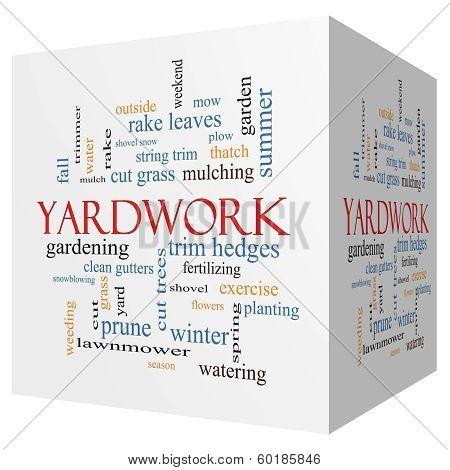 Yardwork 3D Cube Word Cloud Concept