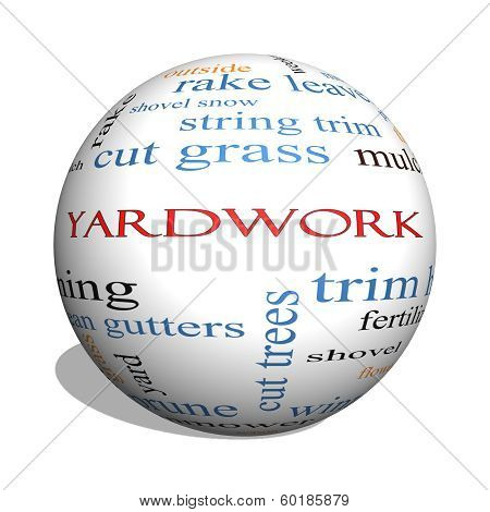 Yardwork 3D Sphere Word Cloud Concept
