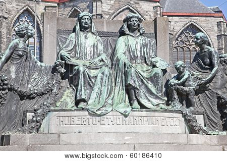 Monument To Famous Painters Hubert And Jan Van Eyck