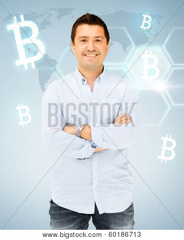 business, money and virtual banking concept - handsome smiling man in casual shirt