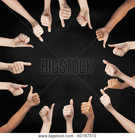 gesture and body parts concept - human hands showing thumbs up in circle