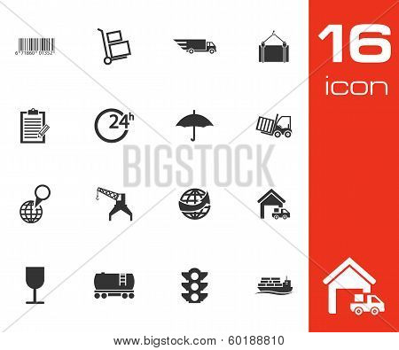 Vector Black  Logistic Icons Set