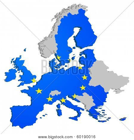 detailed illustration of the European Map, members of the European Union are colored with the European Flag