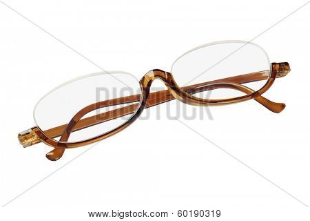Old Fashioned Plastic Reading Glasses On White Background
