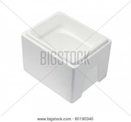 Empty Styrofoam Storage Container On White Background