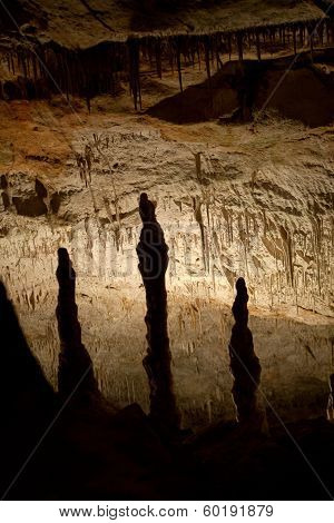 Caves of Drach with many stalagmites and stalactites. Majorca Spain