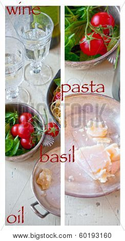 Tomatoes, Basil, Parmesan Cheese And Wine Glasses On The Kitchen Table