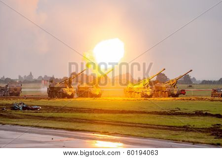 Artillery Fire Test Shots During Military Show Nato Days