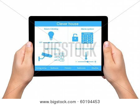 Isolated Men Hands Hold A Tablet With System Clever House
