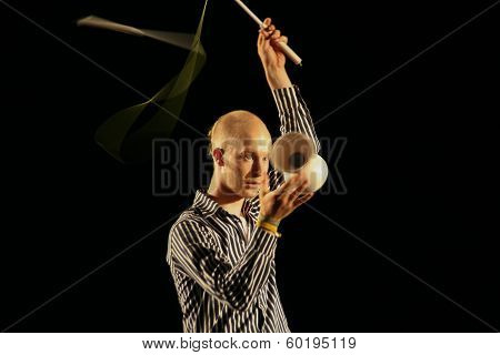 Juggler Perform Show With Diabolo
