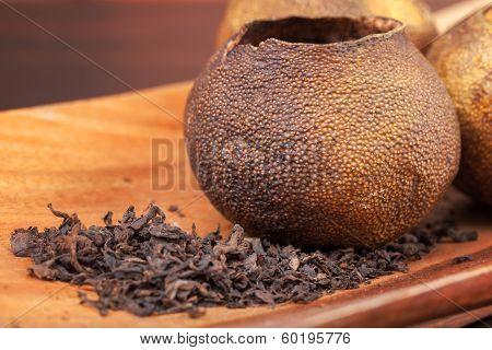 Pu-erh, Chinese Dark Tea Packed In Dried Mandarins