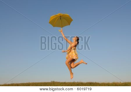 Girl Jumping, Running, With Umbrella