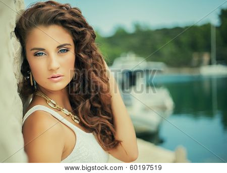 Luxury Portrait Beautiful Girl, Curly Hair