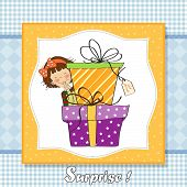 Cute Little Girl Hidden Behind Boxes Of Gifts. Happy Birthday Greeting Card