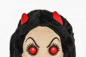 foto of rag-doll  - Hiding Evil Devil Rag Doll Half Portrait - JPG