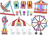 picture of carnival ride  - Illustration Featuring Different Rides Commonly Found in Carnivals - JPG