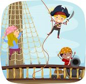 stock photo of pirate sword  - Illustration of Little Kids Dressed in Pirate Costumes Playing on the Ship Deck - JPG