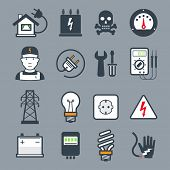 stock photo of transmission lines  - Electricity icons  - JPG