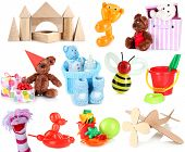 Collage of children toys isolated on white
