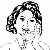 pic of homemaker  - Pop Art lady chatting on the phone vector illustration - JPG