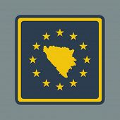 Bosnia and Herzegovina European flag button in flat responsive web design style isolated with clippi