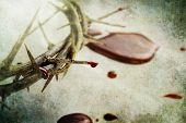 stock photo of blood  - Crown of thorns with drops of blood over grunged background - JPG