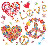 stock photo of hippy  - Set of peace flower symbol and floral hearts - JPG