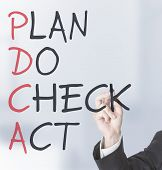 image of plan-do-check-act  - Businessman drawing PDCA schema on transparent screen - JPG