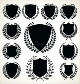 stock photo of laurel  - Black and silver shield and laurel wreath collection - JPG