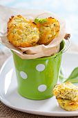 stock photo of zucchini  - Baked zucchini appetizers with cheese and herbs - JPG