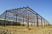 pic of purlin  - A steel skeleton structure is all that remains of a fire - JPG