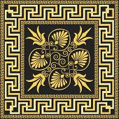picture of fret  - set Traditional vintage golden square Greek ornament  - JPG