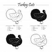stock photo of giblets  - Turkey meat cut scheme in black and white style  - JPG