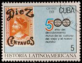 CUBA - CIRCA 1991: A post stamp printed CUBA devoted to History of Latin America, circa 1991