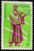 GUINEA CIRCA 1962: stamp printed by Guinea, shows Musical Instrument, flute, circa 1962
