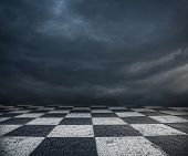 stock photo of surreal  - Chess floor and dramatic overcast sky premade background - JPG