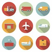 Vehicle, transport and logistics vector flat icons.