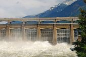 stock photo of dam  - Bonneville dam spillway on the Columbia River in Oregon - JPG
