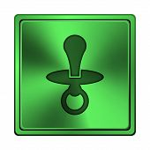 foto of nipple rings  - Square metallic icon with carved design on green background - JPG