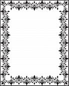 stock photo of scrollwork  - Repeating black and white vintage floral scrollwork ornament border for ad frame or invitation announcement certificate - JPG