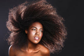 picture of big lips  - Beautiful Stunning Portrait of an African American Black Woman With Big Hair - JPG