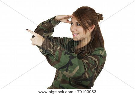 Pretty young girl dressed in green military uniform