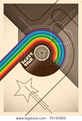 Abstract party poster with rainbow. Vector illustration.