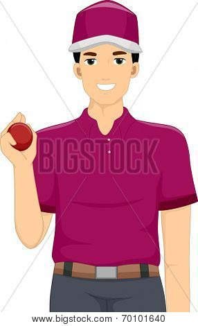 Illustration of a Man Dressed as a Cricket Bowler